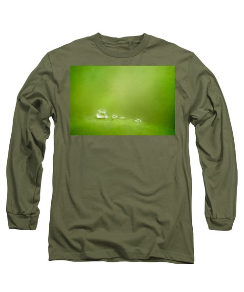 Raindrops On Green Long Sleeve T-Shirt