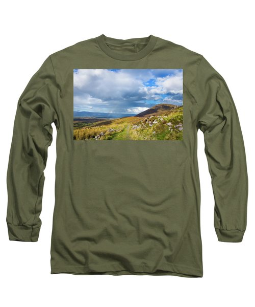 Raining Down And Sunshine With Rainbow On The Countryside In Ire Long Sleeve T-Shirt by Semmick Photo