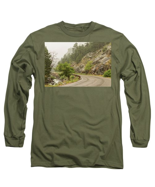 Long Sleeve T-Shirt featuring the photograph Rainy Misty Boulder Creek And Boulder Canyon Drive by James BO Insogna