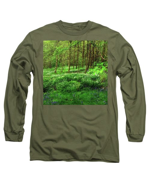 Ramsons And Bluebells, Bentley Woods Long Sleeve T-Shirt by John Edwards