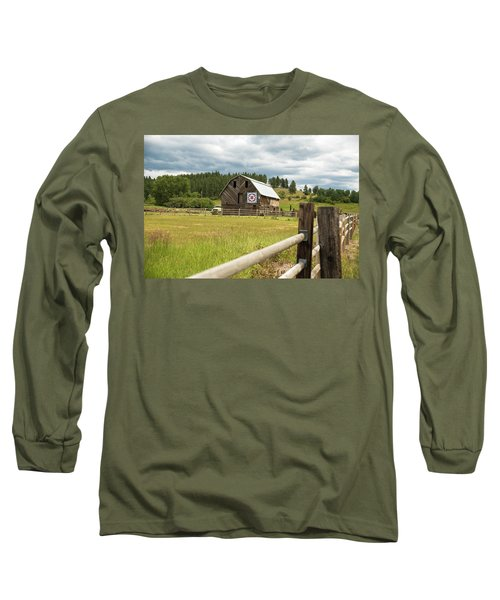 Ranch Fence And Barn With Hex Sign Long Sleeve T-Shirt