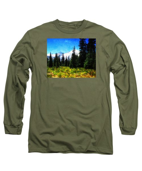 Long Sleeve T-Shirt featuring the photograph Ranier Mountain Meadow by Timothy Bulone