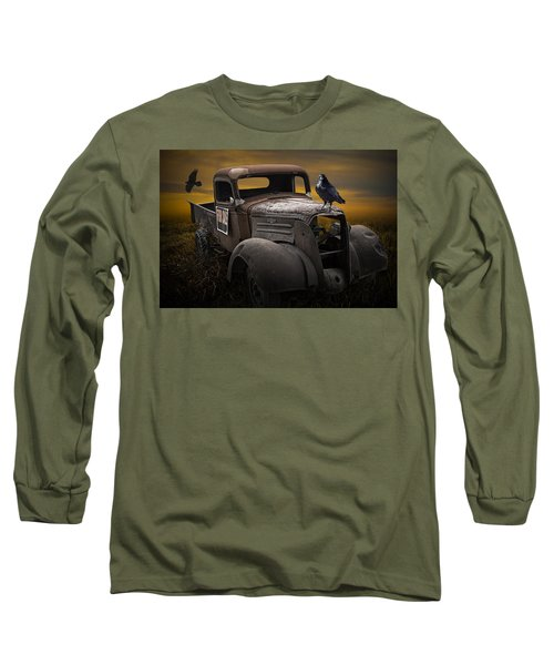 Raven Hood Ornament On Old Vintage Chevy Pickup Truck Long Sleeve T-Shirt