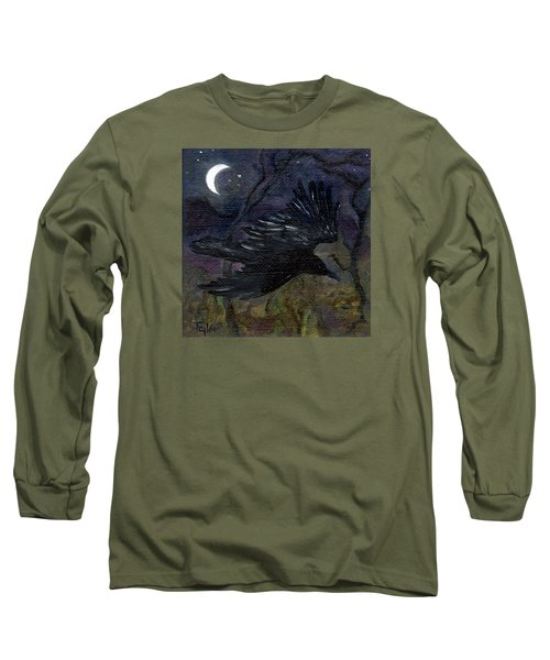 Raven In Stars Long Sleeve T-Shirt by FT McKinstry