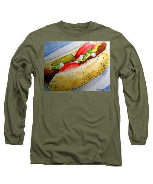 Long Sleeve T-Shirt featuring the painting Real Deal Chicago Dog by Carol Grimes