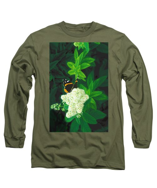 Red Admiral On Spirea Long Sleeve T-Shirt