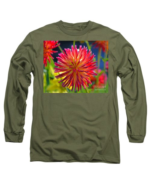 Red And Yellow Dahlia Long Sleeve T-Shirt