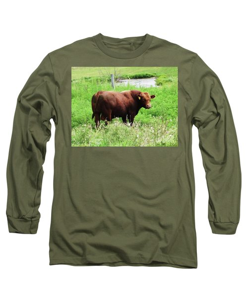 Long Sleeve T-Shirt featuring the photograph Red Angus Bull by J L Zarek