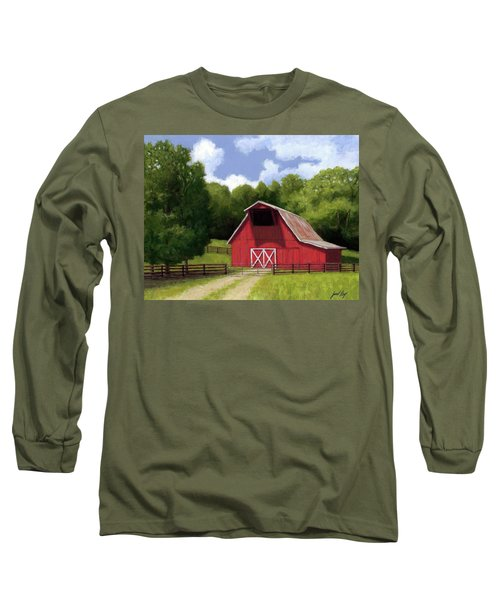 Long Sleeve T-Shirt featuring the painting Red Barn In Franklin Tn by Janet King