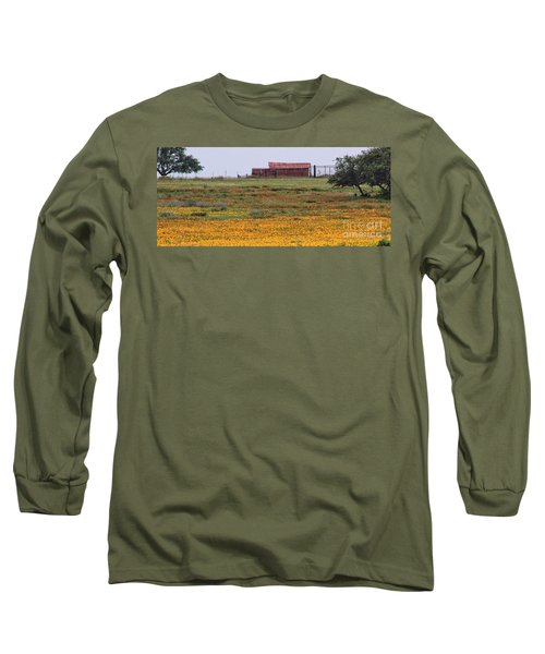 Red Barn In Wildflowers Long Sleeve T-Shirt