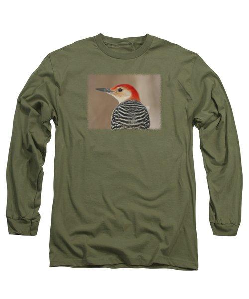 Red Bellied Woodpecker Glamour Portrait Long Sleeve T-Shirt by John Harmon