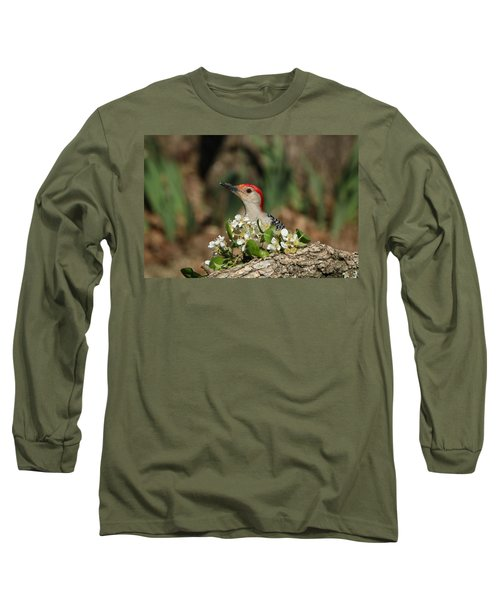 Red-bellied Woodpecker In Spring Long Sleeve T-Shirt by Sheila Brown