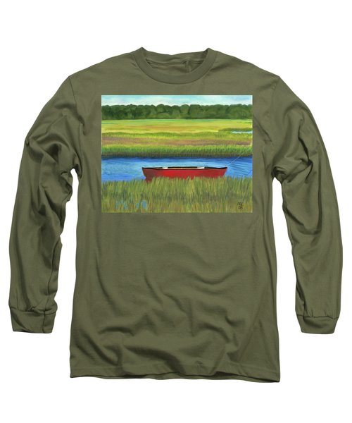 Red Boat - Assateague Channel Long Sleeve T-Shirt by Arlene Crafton