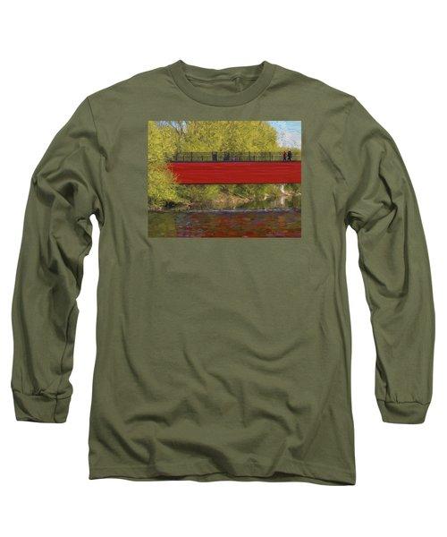 Red Bridge Long Sleeve T-Shirt by Vladimir Kholostykh