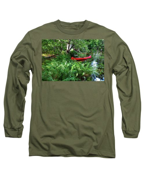 Red Canoe In The Adk Long Sleeve T-Shirt by David Patterson
