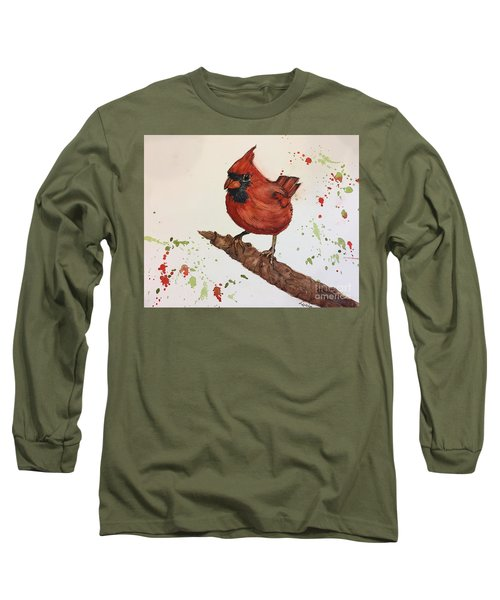 Long Sleeve T-Shirt featuring the painting Red Cardinal by Lucia Grilletto