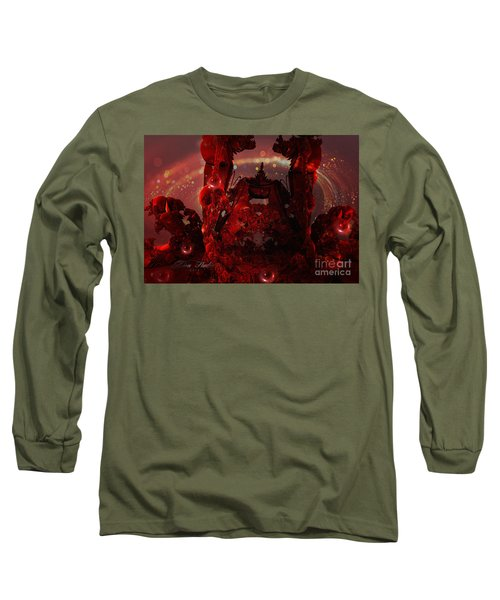 Red Creature Fractal Long Sleeve T-Shirt by Melissa Messick