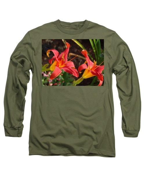Long Sleeve T-Shirt featuring the photograph Red Daylilies by Rebecca Overton