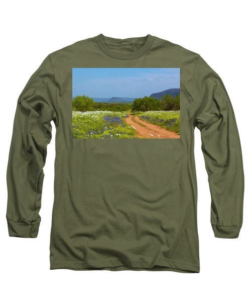 Red Dirt Road With Wild Flowers Long Sleeve T-Shirt