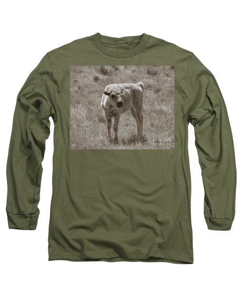 Long Sleeve T-Shirt featuring the photograph Red Dog Buffalo Calf by Rebecca Margraf