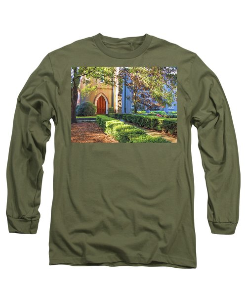 Long Sleeve T-Shirt featuring the photograph Red Door Church by Kim Hojnacki