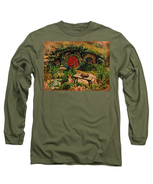Long Sleeve T-Shirt featuring the digital art Red Door Hobbit House With Corgi by Kathy Kelly