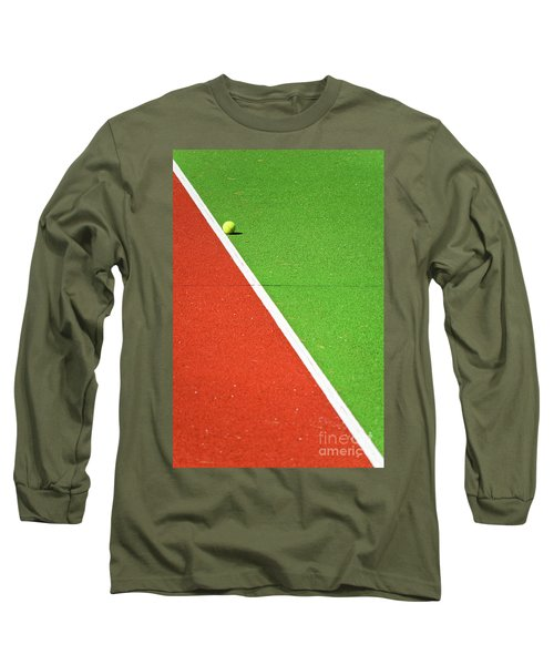 Red Green White Line And Tennis Ball Long Sleeve T-Shirt