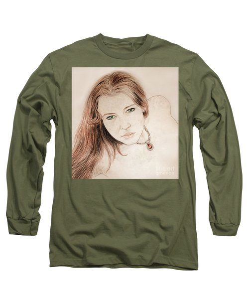 Long Sleeve T-Shirt featuring the drawing Red Hair And Freckled Beauty by Jim Fitzpatrick