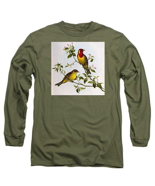 Red Headed Bunting Long Sleeve T-Shirt by John Gould
