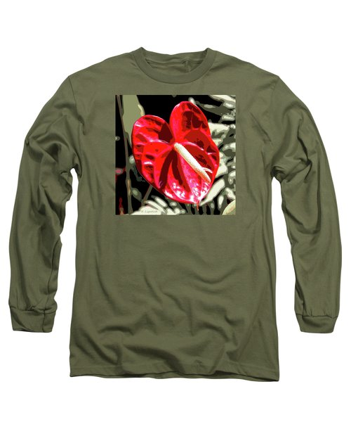 Red Heart Long Sleeve T-Shirt by Kerri Ligatich