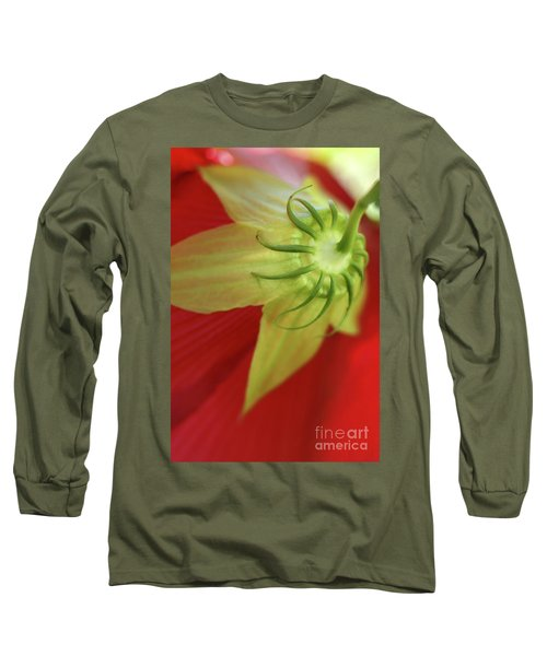 Red Hibiscus Macro Long Sleeve T-Shirt
