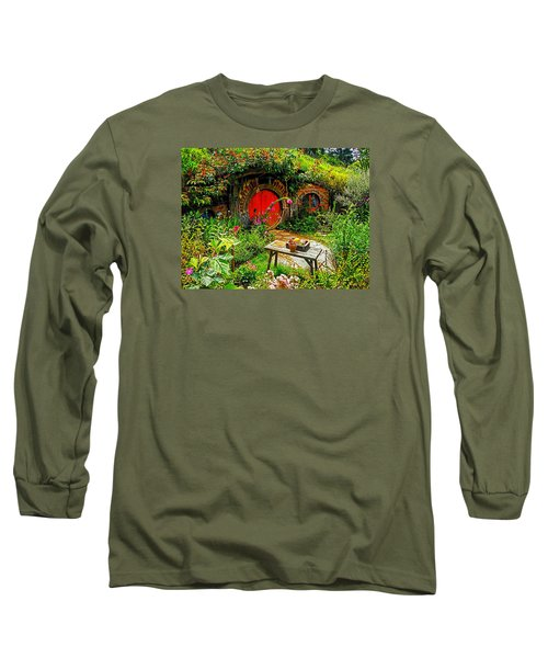 Red Hobbit Door Long Sleeve T-Shirt by Kathy Kelly