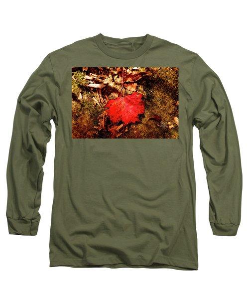 Red Leaf Long Sleeve T-Shirt by Meta Gatschenberger
