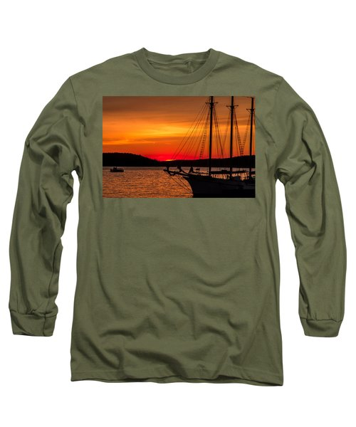 Red Maine Sunrise Long Sleeve T-Shirt