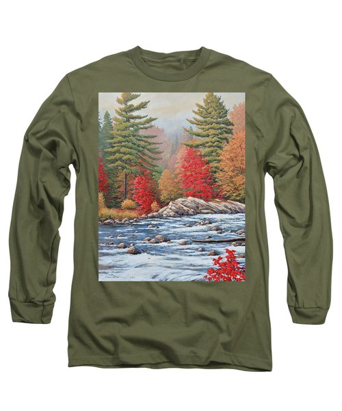Red Maples, White Water Long Sleeve T-Shirt