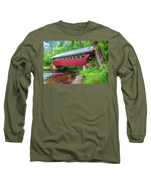 Red Mill Covered Bridge Long Sleeve T-Shirt by Trey Foerster