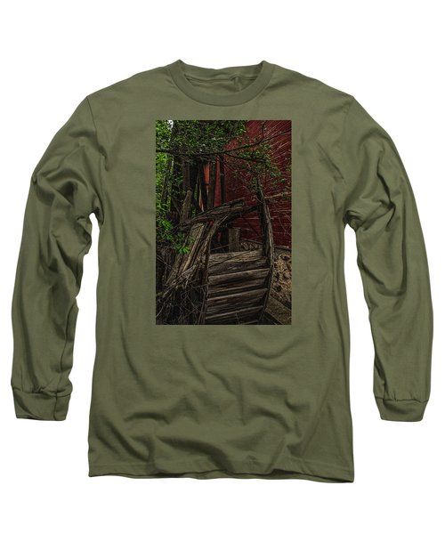 Long Sleeve T-Shirt featuring the photograph Red Mill Decayed Wheel by Trey Foerster