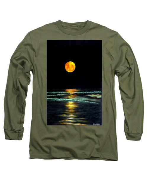 Red Moon Rising Long Sleeve T-Shirt by Antonia Citrino
