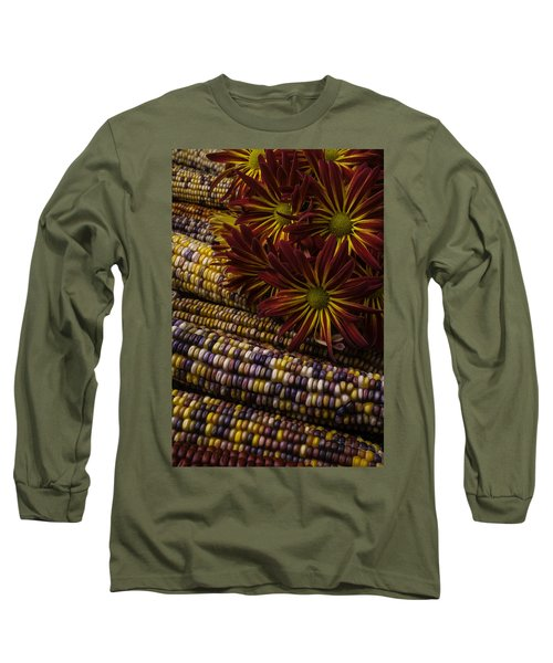 Red Mums And Indian Corn Long Sleeve T-Shirt