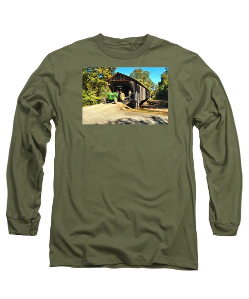 Red Oak Creek Covered Bridge And Tractor Long Sleeve T-Shirt by James Potts