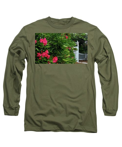 Long Sleeve T-Shirt featuring the photograph Red Oleander Arbor by Marie Hicks