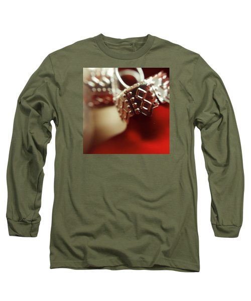 Red Ornament Long Sleeve T-Shirt by Bonnie Bruno