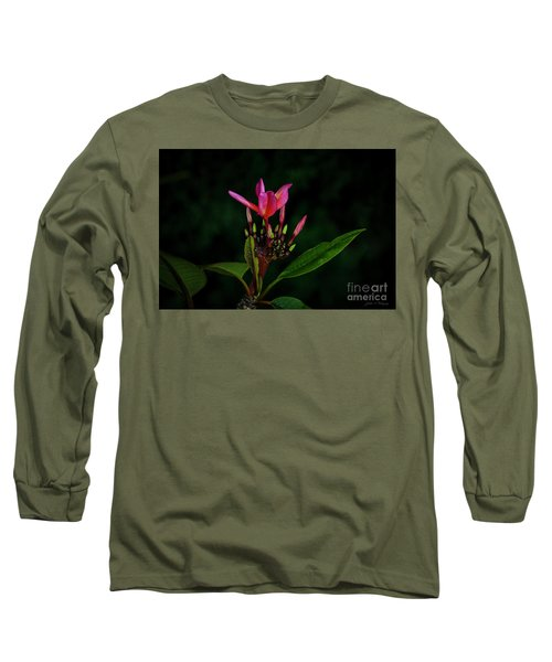 Red Plumeria Long Sleeve T-Shirt