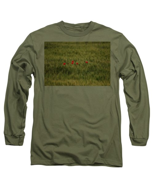 Red Poppies In Meadow Long Sleeve T-Shirt