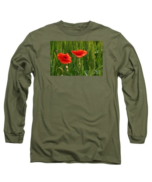 Red Poppy Flowers In Grassland 2 Long Sleeve T-Shirt