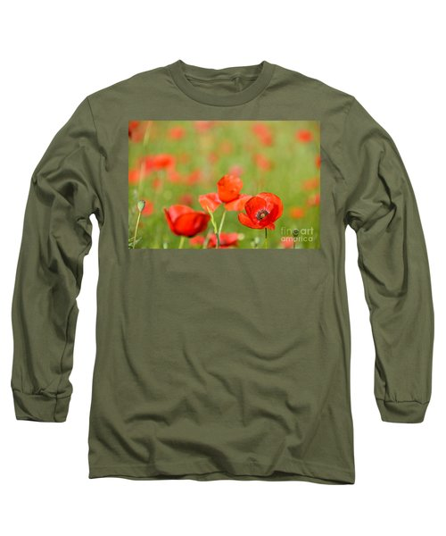 Red Poppy In A Field Of Poppies Long Sleeve T-Shirt by IPics Photography