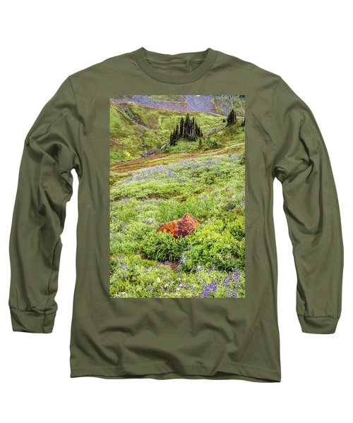 Long Sleeve T-Shirt featuring the photograph Red Rock Of Rainier by Pierre Leclerc Photography