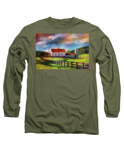 Long Sleeve T-Shirt featuring the digital art Red Roof Barn by Lois Bryan
