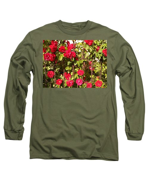 Red Roses In Summertime Long Sleeve T-Shirt by Arletta Cwalina