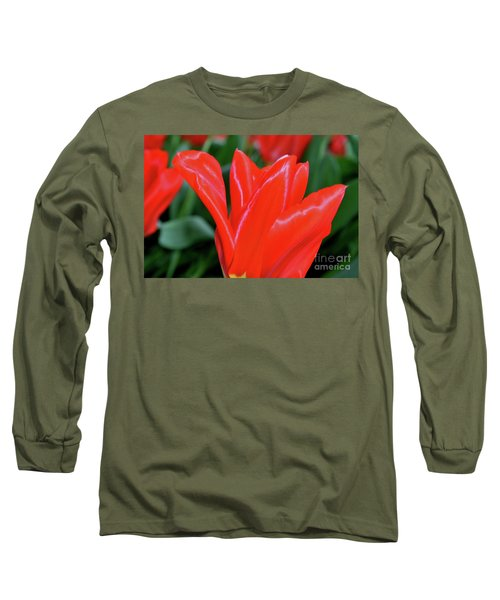 Red Satin Long Sleeve T-Shirt